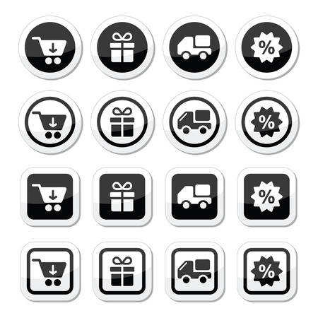 car clothes: Shopping on internet black icons set with shadow