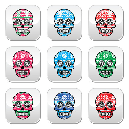Mexican sugar skull buttons with winter Nordic pattern Vector