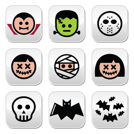Halloween characters - Dracula, monster, mummy buttons Vector