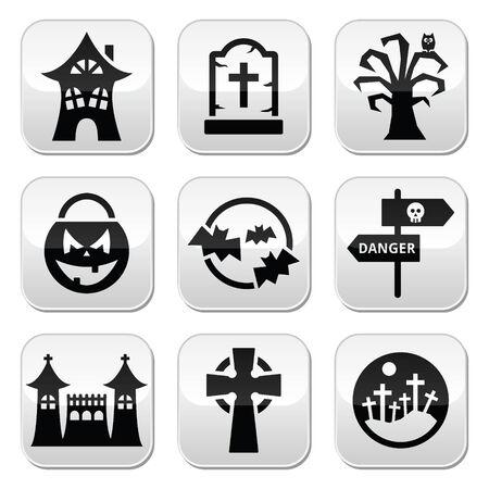 thriller: Halloween vector buttons set