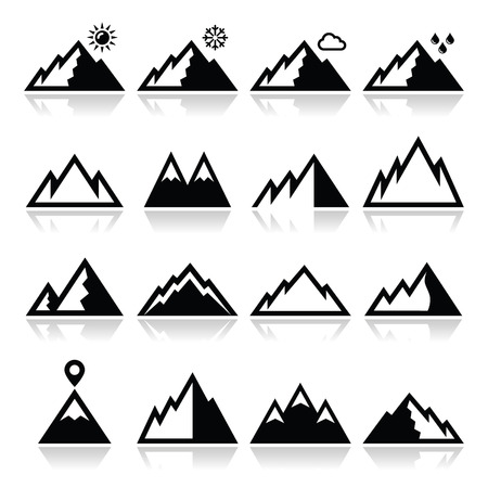 Mountains vector icons set Vector