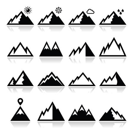 mountain peek: Mountains vector icons set
