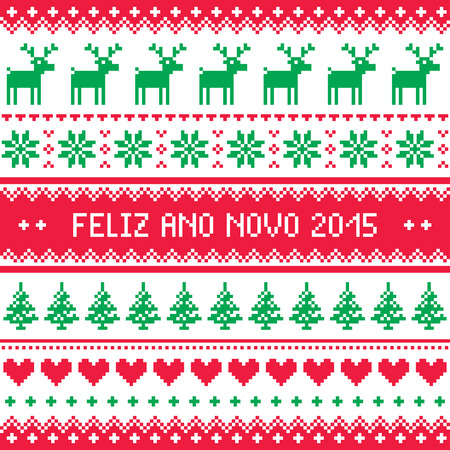 ano: Feliz Ano Novo 2015 - Portuguese happy New Year pattern