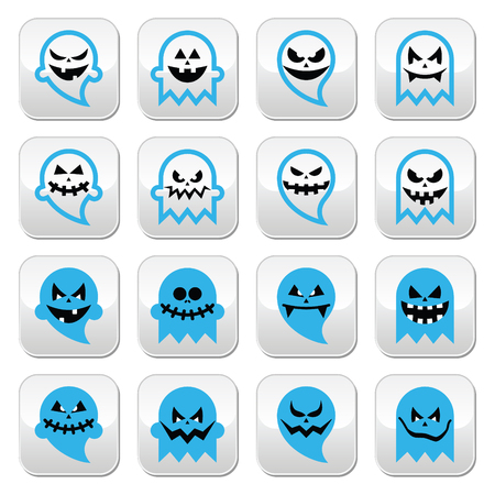 october 31: Halloween scary ghost, spirit vector buttons set
