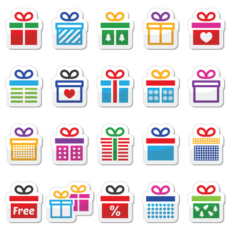 Present, gift box colorful vector icons set Vector