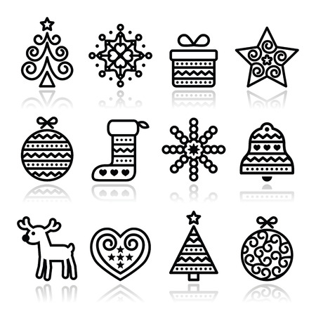christmas baubles of modern design: Christmas icons with stroke - Xmas tree, present, reindeer