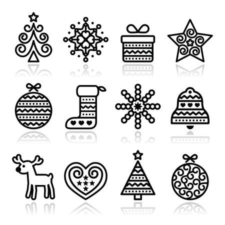 arboles blanco y negro: Iconos de la Navidad con ictus - �rbol de Navidad, presente, reno