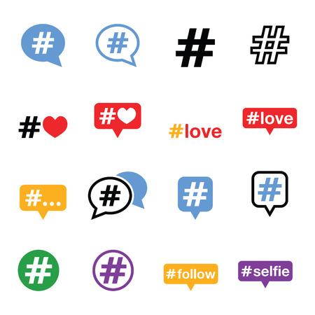 Hashtag, sociale media pictogrammen instellen