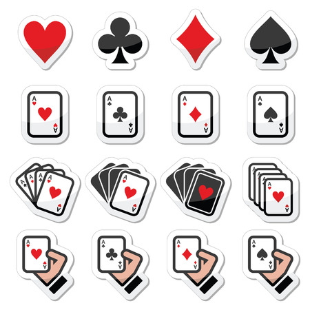Playing cards, poker, gambling icons set Vettoriali
