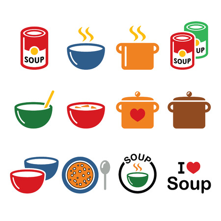 soup pot: Soup in bowl, can and pot - food icon set