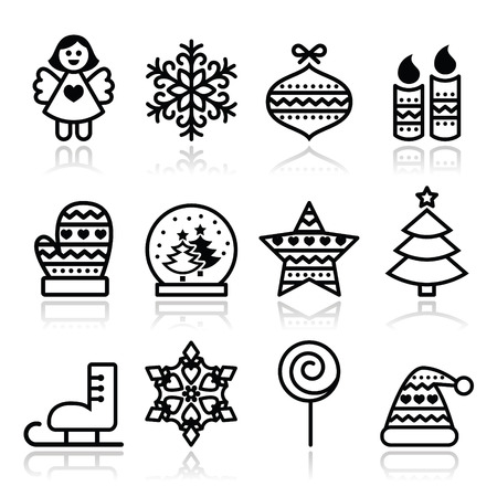 christmas baubles of modern design: Christmas icons with stroke - Xmas tree, angel, snowflake Illustration