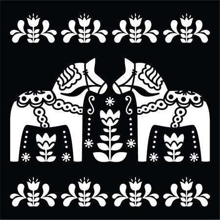 Swedish Dala or Daleclarian horse folk art pattern on black Vector