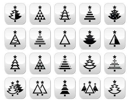 pine three: Christmas tree - various types buttons set