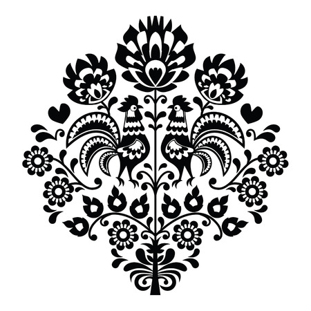 bordados: Arte popular polaco patrón negro en blanco - Wycinanka, Wzory Lowickie