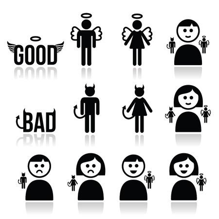 Anioł, Diabeł mężczyzna i kobieta zestaw ikon Ilustracje wektorowe
