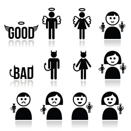 Angel, devil man and woman icon set Vectores