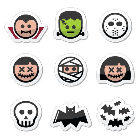 Halloween characters - Dracula, monster, mummy icons Vector