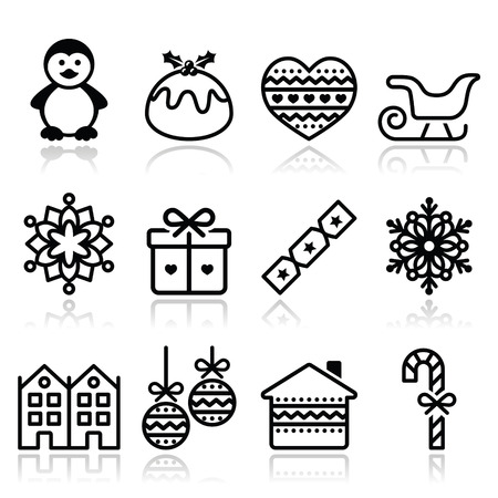 Christmas, winter icons with stroke - penguin, Christmas pudding Vector