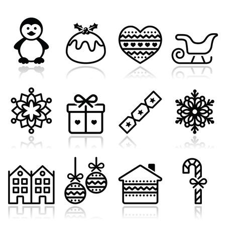 noir et blanc: No�l, des ic�nes d'hiver ayant subi un AVC - pingouin, pudding de No�l Illustration