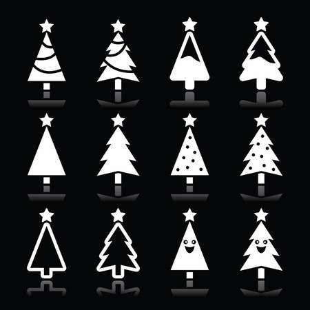 Christmas white tree vector icons set on black Vector
