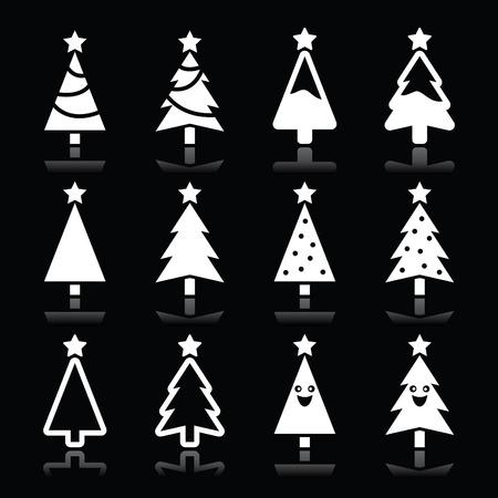 arboles blanco y negro: �rbol de navidad blanco iconos conjunto de vectores en negro
