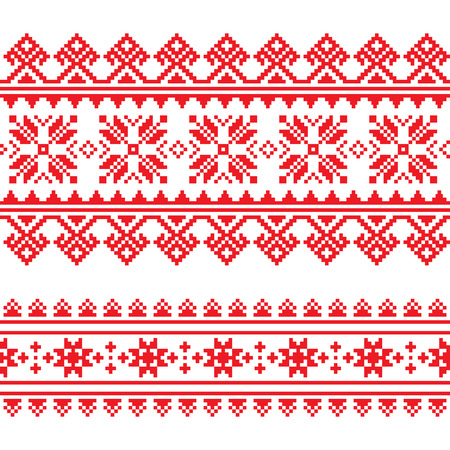 Traditional folk knitted red embroidery pattern from Ukraine