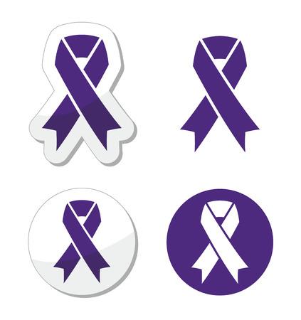Indigo ribbon - bullying, stalking awareness symbol Vector