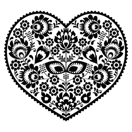 Polish black folk art heart pattern on white - wzory lowickie, wycinanka Vector