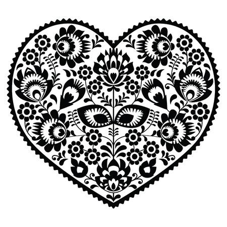 Polish black folk art heart pattern on white - wzory lowickie, wycinanka Vector