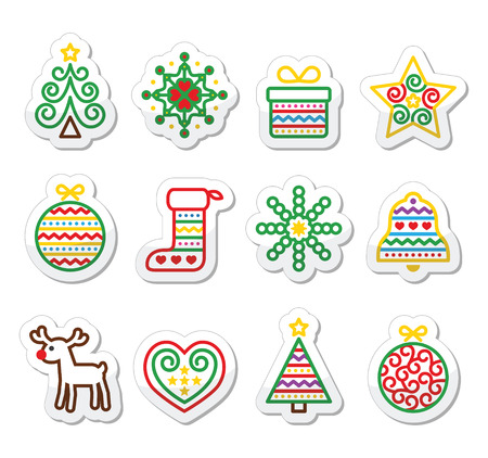 Christmas icons with stroke - Xmas tree, present, reindeer Vector
