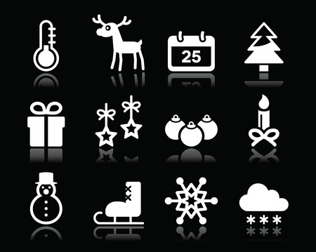 Christmas winter white icons set on black Vector