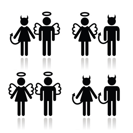 devil man: Couples devil and angel man and woman icons set