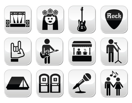 singer on stage: Music festival, live concert vector buttons set