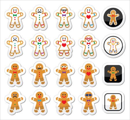 gingerbread: Gingerbread man Christmas icons set