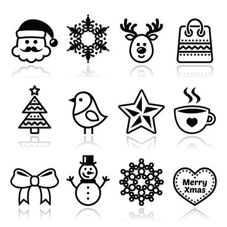 Christmas, winter icons set - Santa Claus, snowman Vector