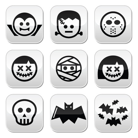 Halloween characters - Dracula, Frankenstein, mummy buttons Vector