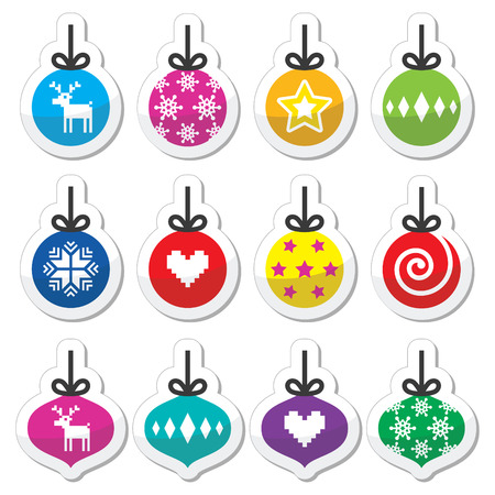 new year tree: Christmas ball, Christmas bauble colorful labels set