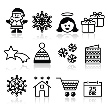 Christmas, Xmas celebrate icons set Vector