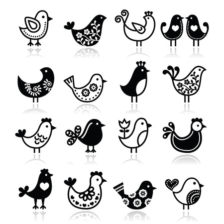 Folk birds vector icons set