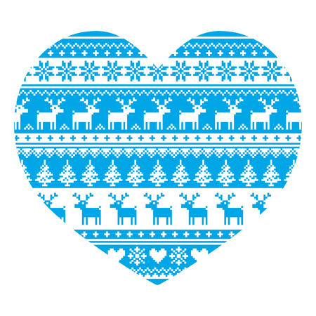scandinavian christmas: Christmas card with heart- blue Nordic, winter pattern on white Illustration
