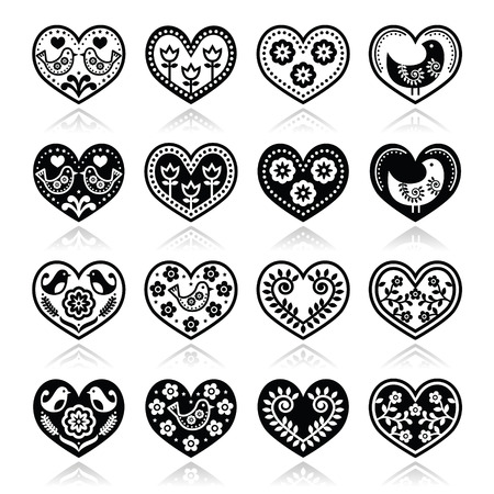 Folk hearts with flowers and birds icons set Vector
