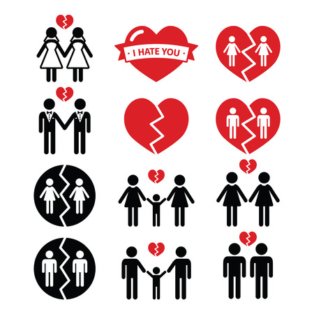 Gay or lesbian Couple breakup, divorce vector icons set Illustration
