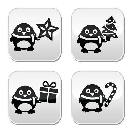 Christmas cute penguin vector buttons set Vector