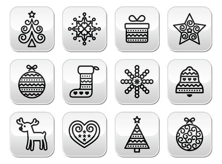 Christmas buttons with stroke - Xmas tree, present, reindeer Vector