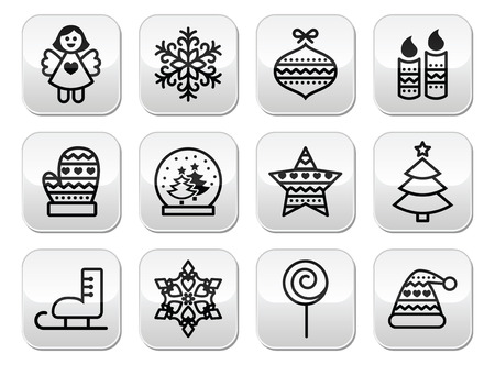 Christmas buttons with stroke - Xmas tree, angel, snowflake Vector