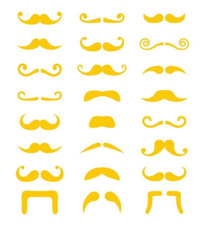 man long hair: Blond moustache or mustache vector icons set