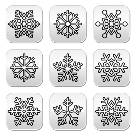 Snowflakes, winter black and white buttons set Vector