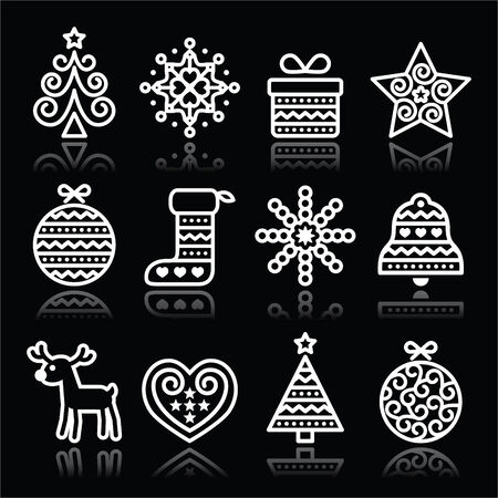 christmas baubles of modern design: Christmas white icons with stroke on black