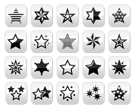 Stars black buttons with reflection isolated on white Vector