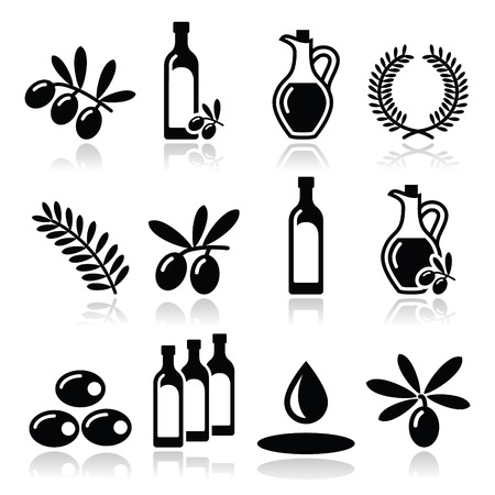 Olive oil, olive branch icons set